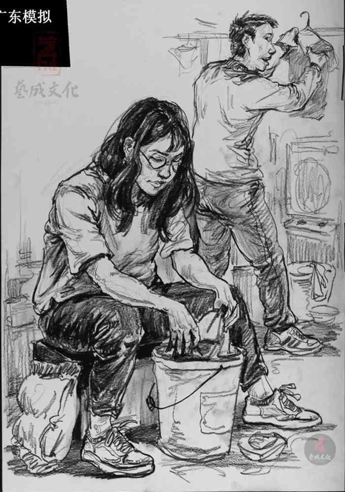 今天广州十大画室老师送你近两年广东模考速写高分卷,09