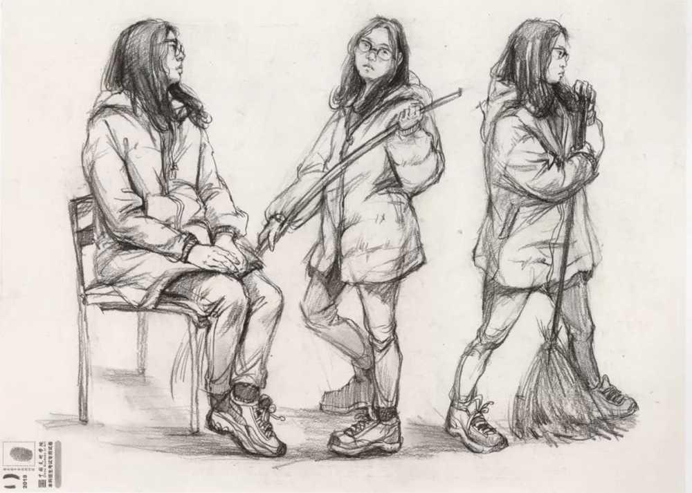 广州美术高考班给咱精选了33幅中国美院往年速写高分卷