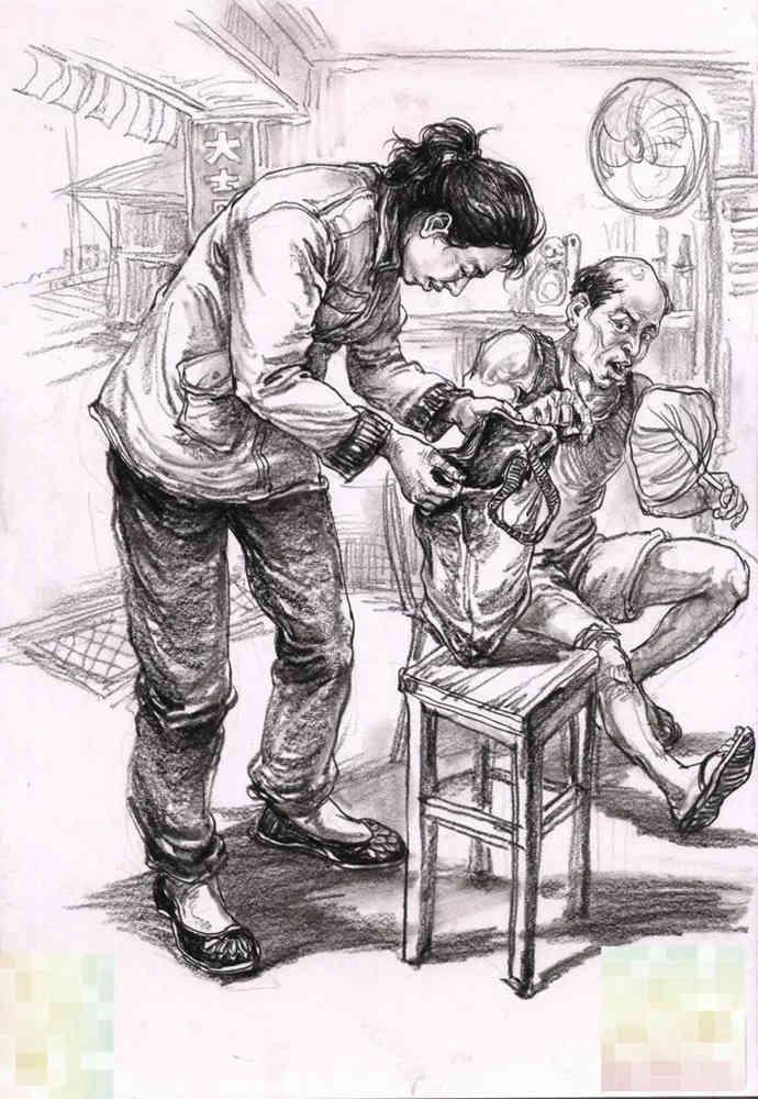 今天广州十大画室老师送你近两年广东模考速写高分卷,24